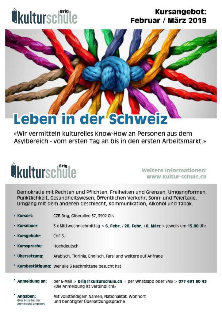 Kulturschule - Leben in der Schweiz @ CZB | Glis | Wallis | Schweiz